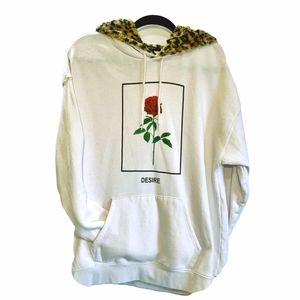 Fur lined Hoodie...Rose graphic. Size L